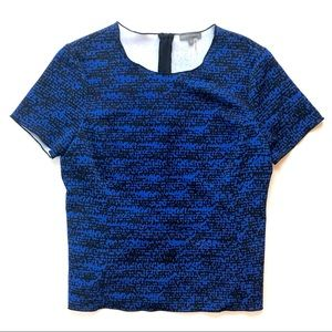 Vince Camuto Blue and Black Mottled Blouse small